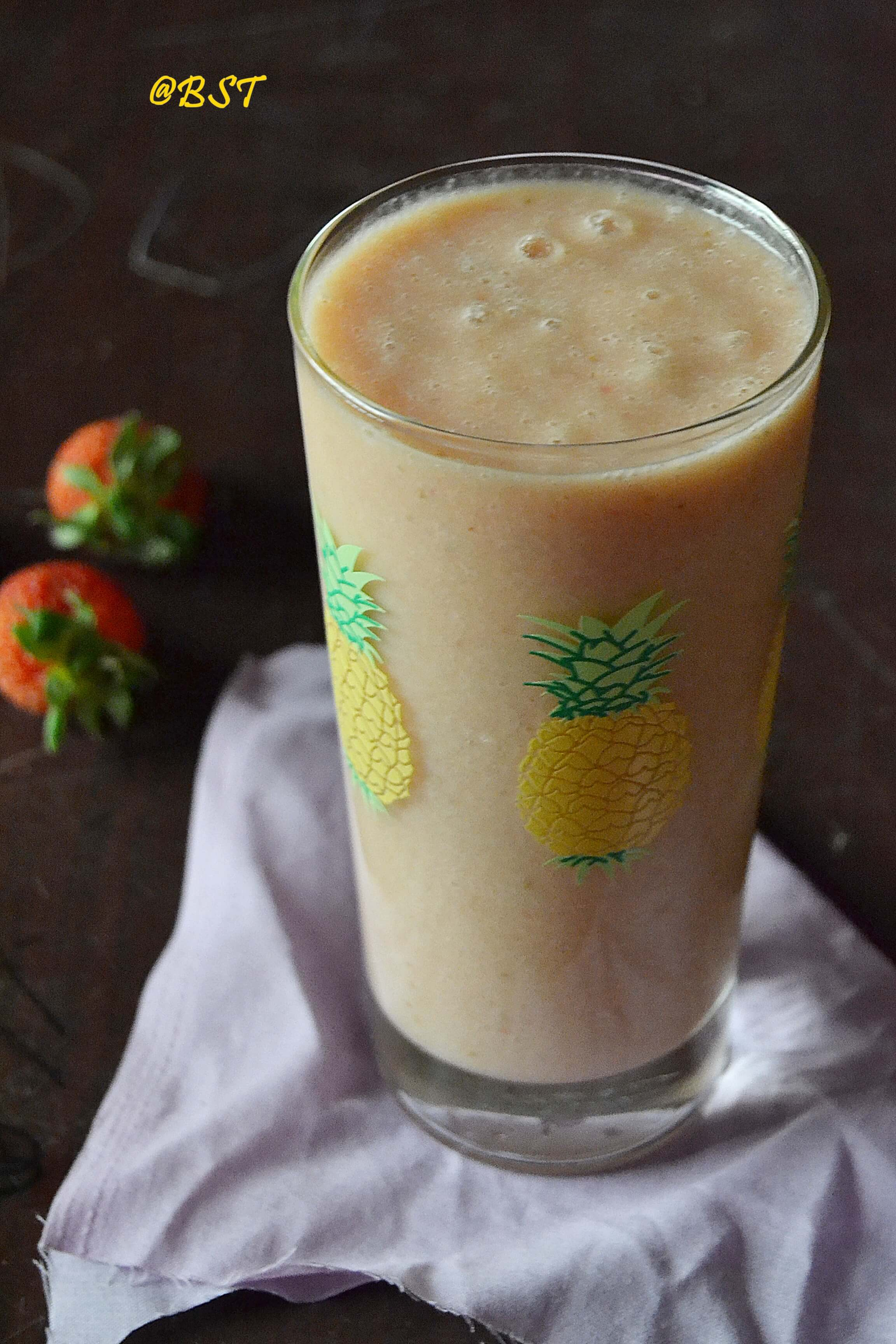 13- Pineapple Strawberry Soy Milk Smoothie